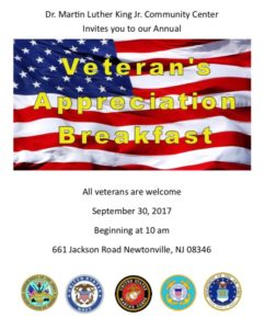 Veterans Breakfast MLK Center @ Martin Luther King Center | Buena Vista Township | New Jersey | United States