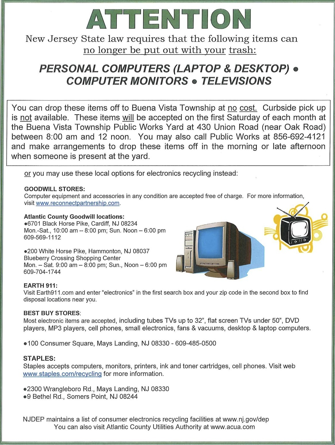 buena vista township recycling electronics is the law drop off locations listed. Black Bedroom Furniture Sets. Home Design Ideas